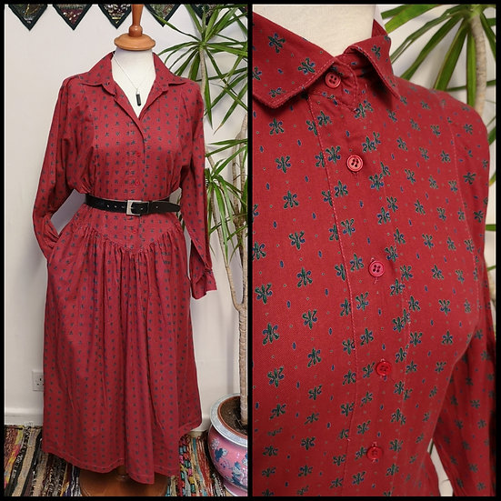 Vintage 80's/90's Monogram Print Midi Dress Size S/M