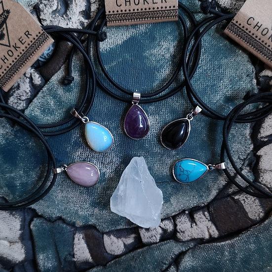 Gemstone Teardrop Pendant Stretchy Choker (Choose Gemstone)