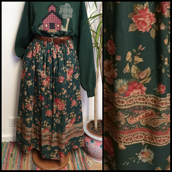 Vintage 80's Floral and Paisley Print Midi Skirt Size S/M
