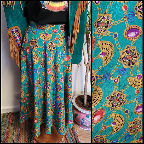 Vintage 80's Full Circle Silky Jewel Print Midi Skirt Size 8/10