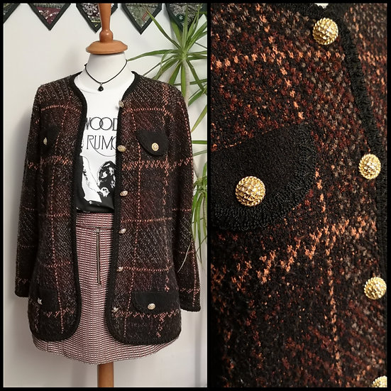 Vintage 90's Checked Knit Gold Button Cardigan Size M/L