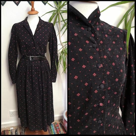 Vintage 80's / 90's Laura Ashley Diamond Print Cord Midi Dress Size M