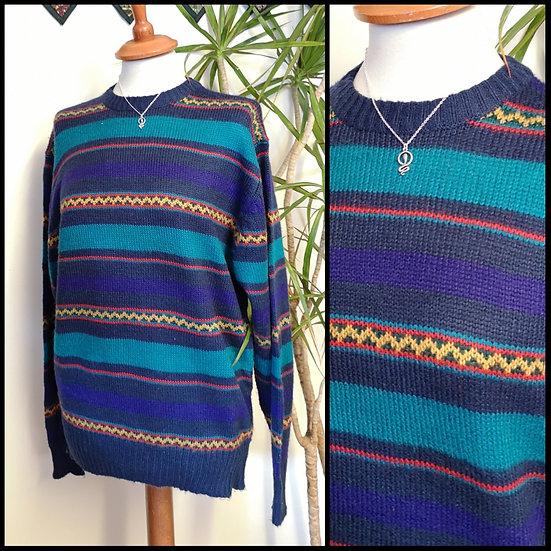 Vintage 90's Stripe Zig-Zag Knit Jumper Unisex Size S/M