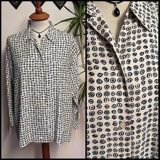 Vintage 90's Monochrome Spiral Print Blouse Shirt Size M/L