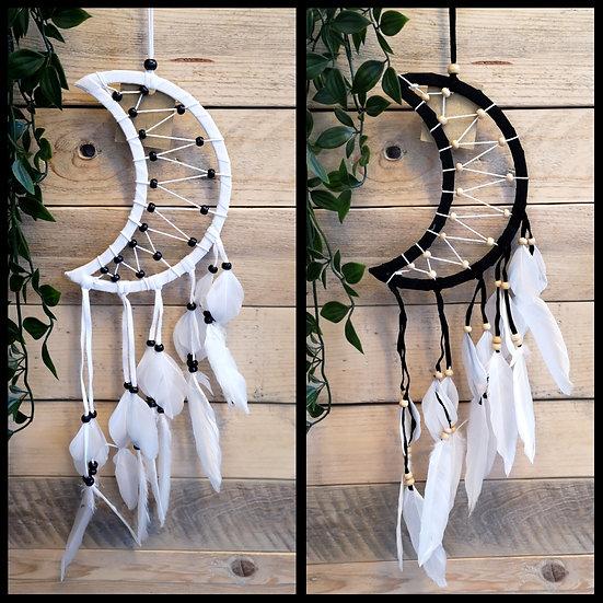 Fair Trade Handmade Crescent Moon Dreamcatcher Black or White