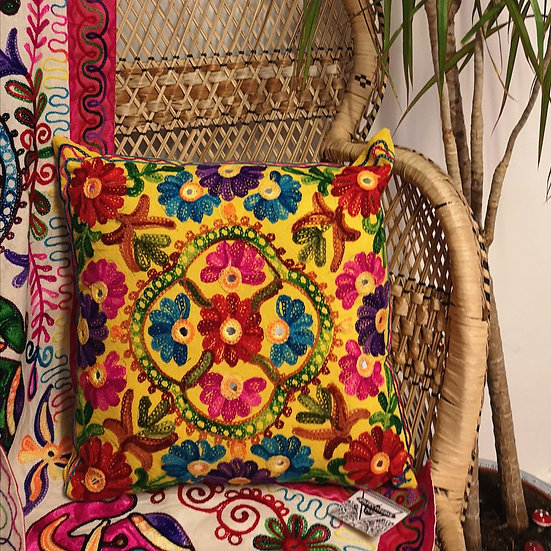 Fairtrade Colourful Embroidered Boho Cushion Cover - Yellow
