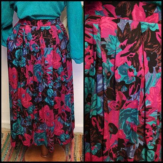 Vintage 80's Painterly Floral Stretch Midi Skirt Size S/M