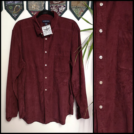 Vintage 90's Maroon Red 100% Cotton Cord Shirt Size L/XL