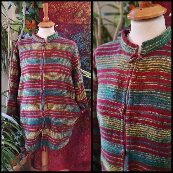 Fairtrade Unisex Supersoft Striped Fringed Jacket/Cardigan Size M/L