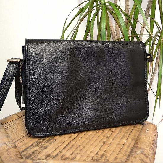 Vintage 90's Real Leather Black Cross-Body Satchel Handbag