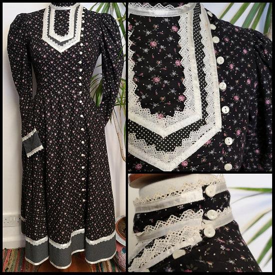 Vintage 70's Edwardian Ditsy Floral Prairie Dress Size S