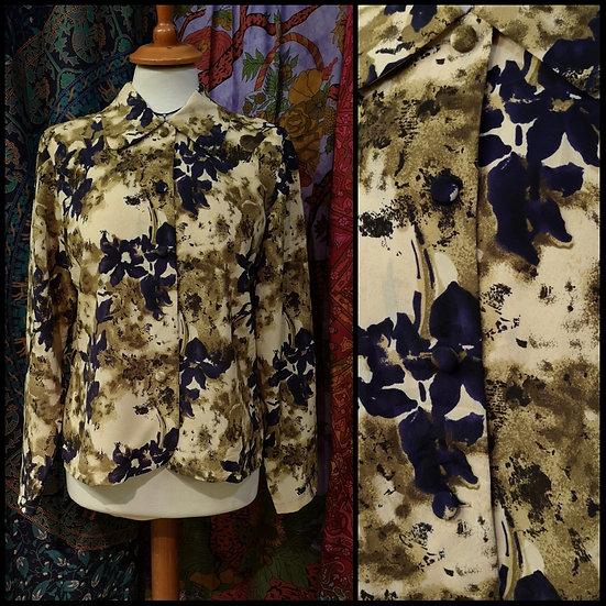 Vintage 90's Floral Blouse Size S/M