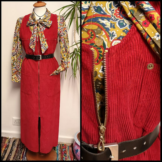 Vintage 90's Red Cord Zip Front Midi Dress Size S/M