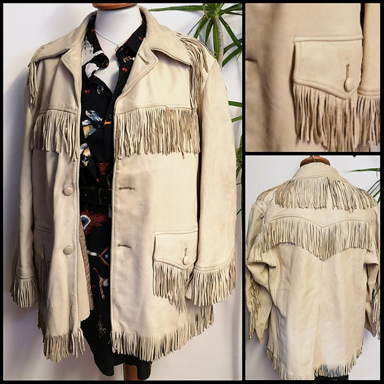 Vintage 80's Soft Leather Fringed Jacket Unisex Size S/M