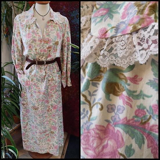 Vintage 70's Floral Midi Maxi Dress Lace Collar Size M/L