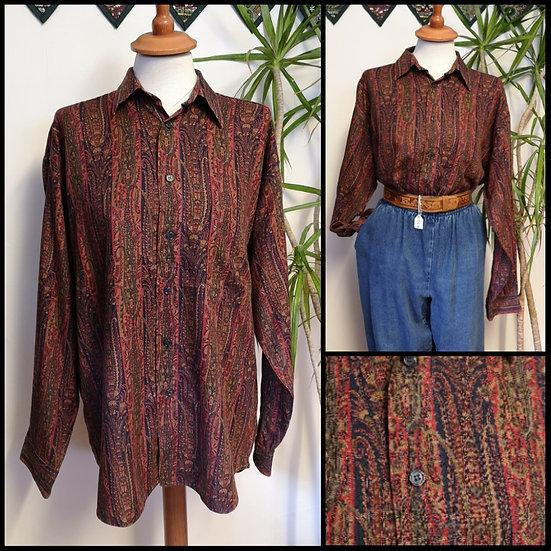 Vintage 90's M&S Paisley Stripe Shirt Unisex Size M/L