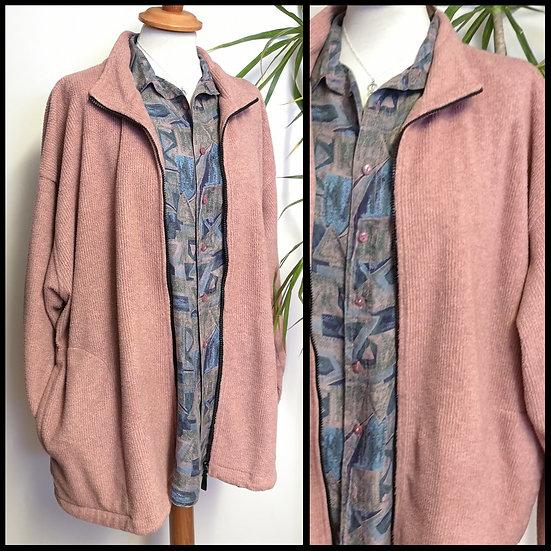 Vintage 90's Ribbed Dusty Pink Fleece Unisex Size XXL
