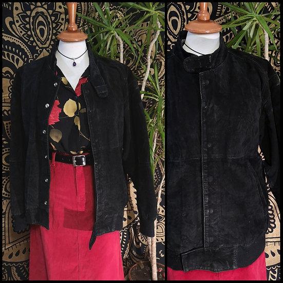 Vintage 90's Real Suede Leather Bomber Jacket Size M/L (Men's Unisex)