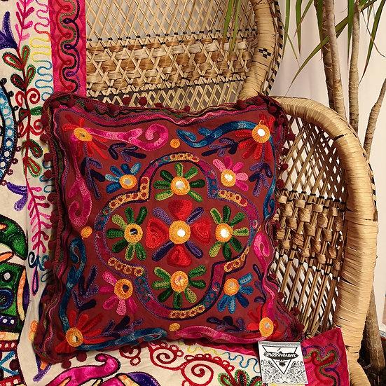 Fairtrade Colourful Embroidered Boho Cushion Cover -Purple