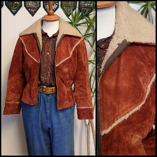 Vintage 70's/80's Real Sheepskin and Suede Leather Jacket Size S/M