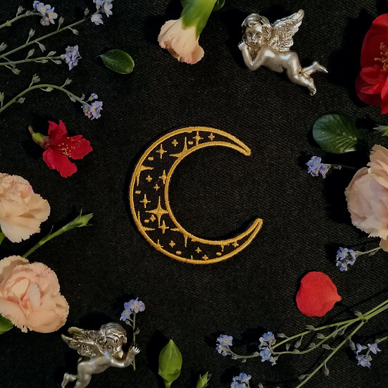 Crescent Moon Iron-On Patch