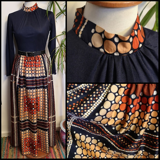 Vintage 70's Groovy Circle Maxi Dress Size S