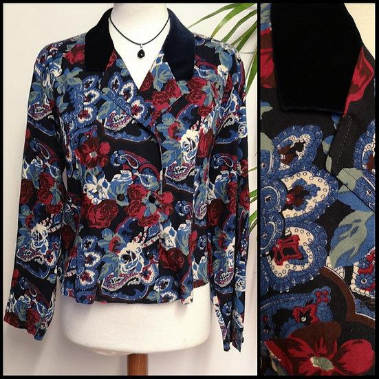 Vintage 80's/90's Eastex Paisley Floral & Velvet Blouse Size M/L