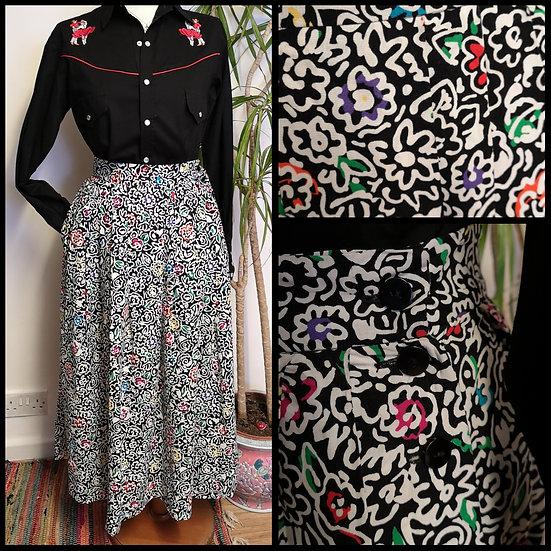 Vintage 80's Graphic Doddle Floral Print Midi Skirt Size S
