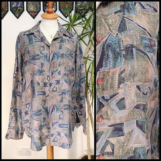 Vintage 90's Pure Silk Abstract Pattern Shirt UNISEX Size M