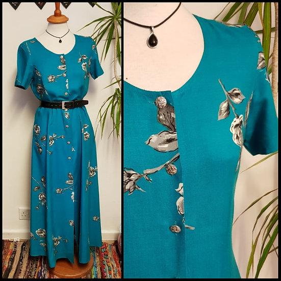 Vintage 90's Floral Button Through Midi Maxi Dress Size S