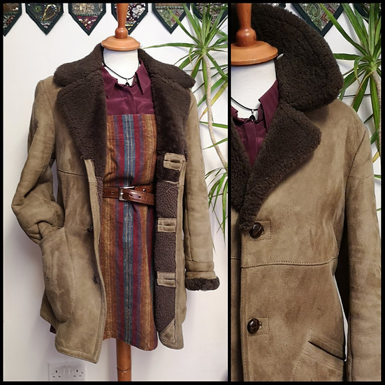 Vintage 70's House of Fraser Sheepskin Coat Jacket Size S