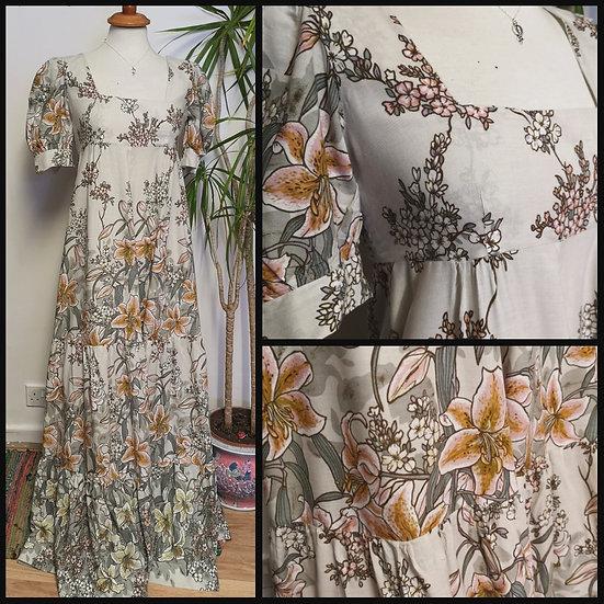 Vintage 70's Handmade Empire Line Maxi Dress Size S
