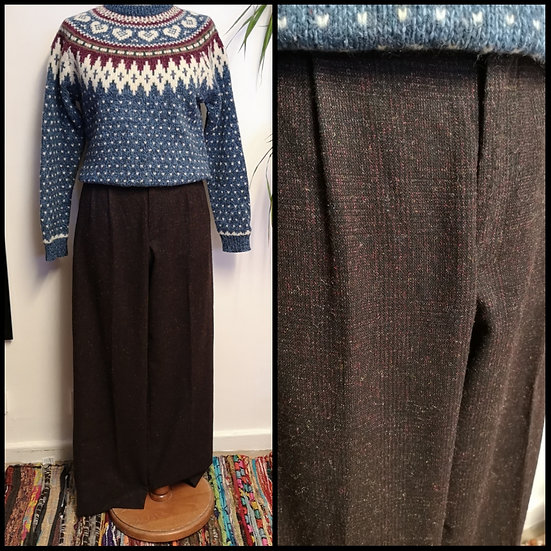 Vintage 80's Wool Mix Tailored Trousers Size S