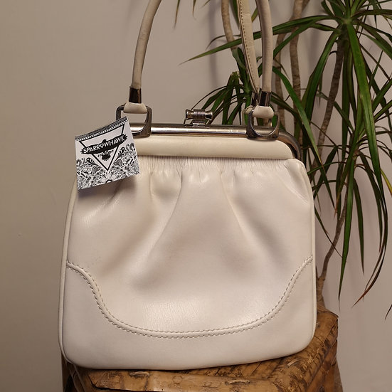Vintage 60's Ivory/White Real Leather Kelly Handbag