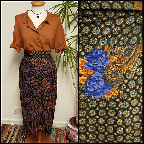 Vintage 80's Monogram Paisley Floral Midi Skirt Size S
