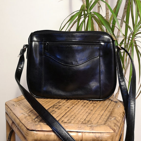 Vintage 90's Faux Leather Japelle Black Cross-Body Handbag