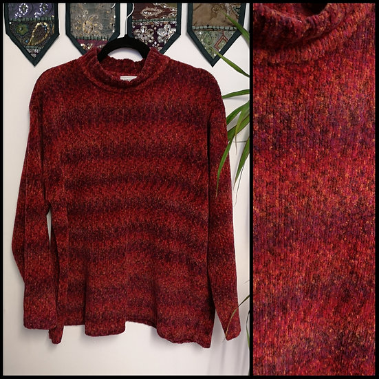 Vintage 90's Mixed Stripe Chenille Jumper Size XL