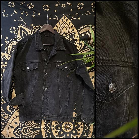 US Vintage 90's Black Denim Trucker Jacket Size M/L