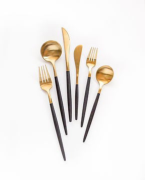 Black and gold flatware