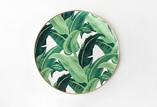 Leaf Charger Plate with Gold Rim