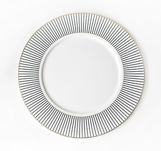 black and white stripe plates