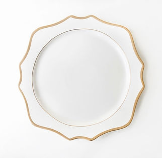 white and gold geometric charge plate