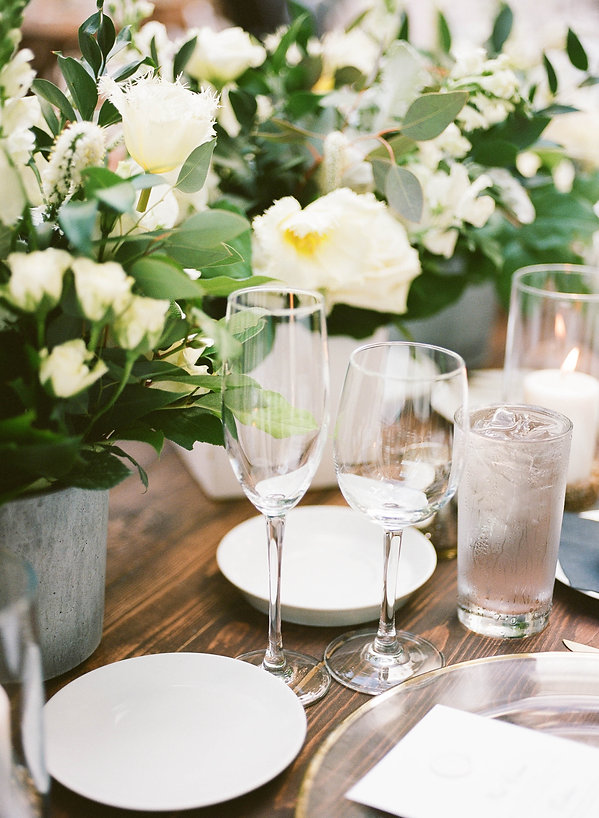 Rustic wooden table with beautiful flora