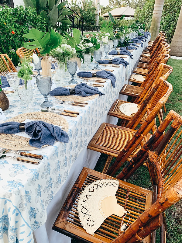 Tropical outdoor table setting for weddings