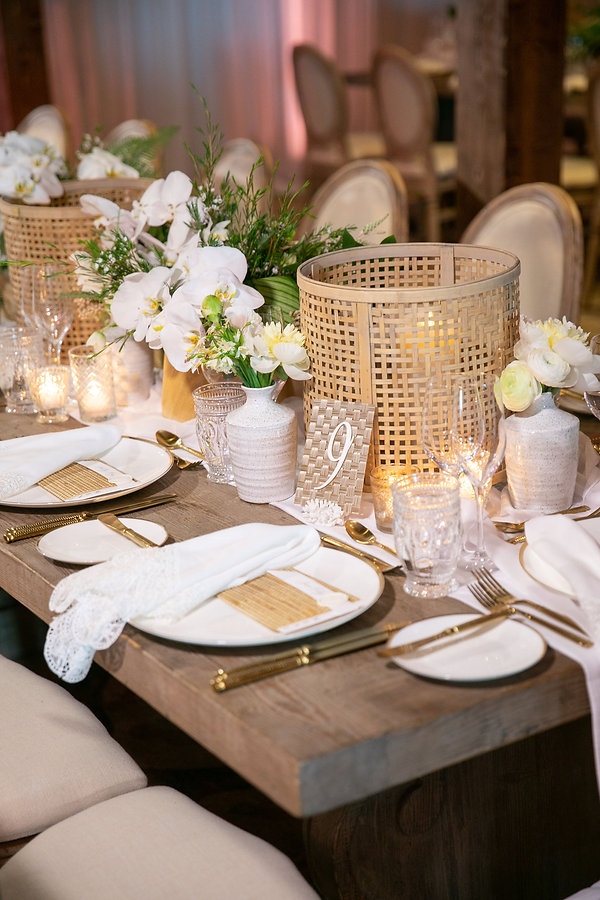 Wooden tables and White and Gold Dinnerware