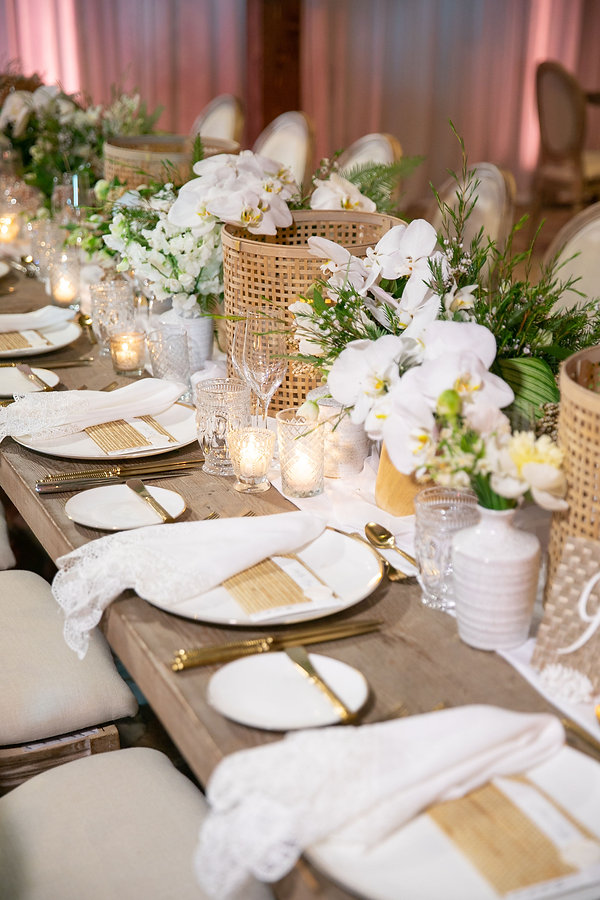 White and Gold Plates with Gold Flatware