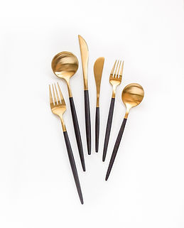 Black and gold spoon and fork