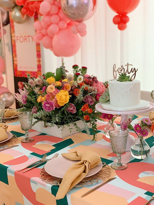 Pastel Pink Dinnerware on a colorful tablescape