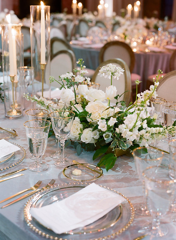Glass Dinnerware with Gold edges paired with beautiful white florals