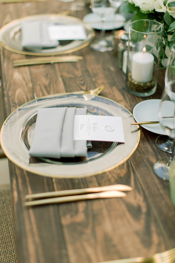 Glass Dinnerware with Gold Flatware